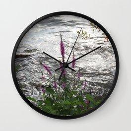 Purple Flower on the Water Wall Clock
