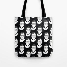 Ruth Bader Ginsburg, Large BW Pattern Tote Bag