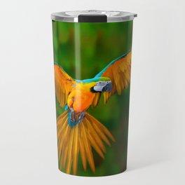Flying Golden Blue Macaw Parrot Green  Art Travel Mug