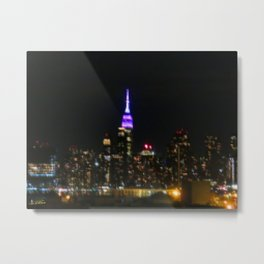 Manhattan by night NYC pixels Metal Print