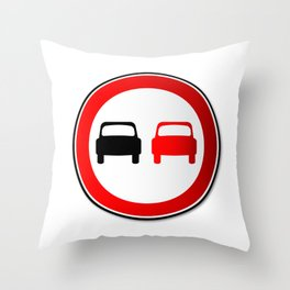 No Overtaking Road Traffic Sign Throw Pillow