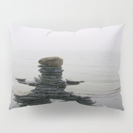 Stone Inukshuk on The Shore Looking Out Over Calm Water ~ A Meaningful Messenger Pillow Sham