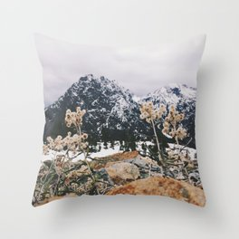 Mountains + Flowers Throw Pillow