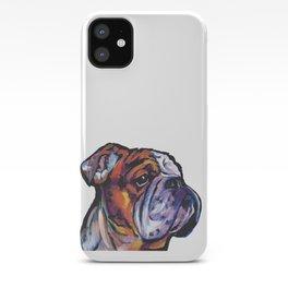 Fun English Bulldog Dog Portrait bright colorful Pop Art Painting by LEA iPhone Case