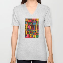 Colors In Collision 1 - Geometric Abstract of Colors that Clash Unisex V-Neck