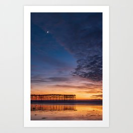 New Moon Over Pacific Beach Pier Art Print