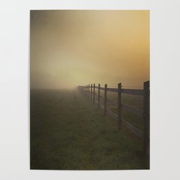 Misty Sunrise on the Farm Poster