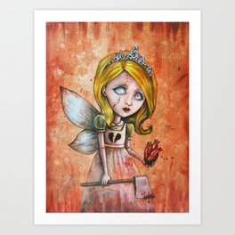 Love Hurts Dark Valentines Undead Fairy Princess Art Print