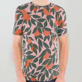 Oranges and Leaves Pattern - Pink All Over Graphic Tee