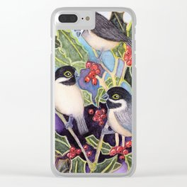 Christmas Chickadees Clear iPhone Case