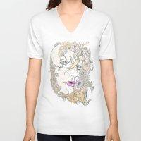 botanical V-neck T-shirts featuring botanical hues by Cassidy Rae Marietta