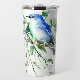 Mountain Bluebird, sky blue green bird artwork Travel Mug