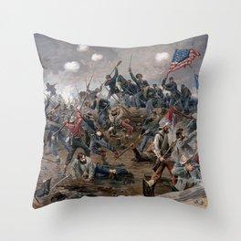 Vintage Lithograph of the Battle of Spotsylvania Throw Pillow