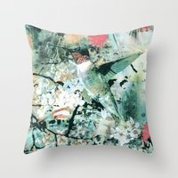 hummingbird Throw Pillows featuring Hummingbird by RIZA PEKER