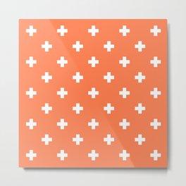 Swiss cross pattern on coral Metal Print