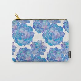 Rosette Succulents – Blue Palette Carry-All Pouch
