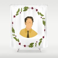 dwight Shower Curtains featuring Dwight K Schrute by Cheese on Toast