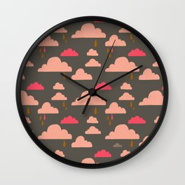 peachy pinky clouds on sage Wall Clock