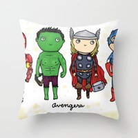 super heroes Throw Pillows featuring Super Cute Heroes: Avengers! by Kayla Dolby