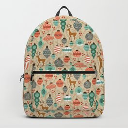 Holiday Ornaments in Aqua + Coral Backpack