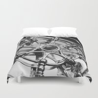 clockwork Duvet Covers featuring Clockwork by This N That