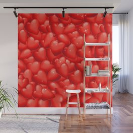 Red Hearts Pattern.Red Hearts Overlapping. Valentine. Hearty Hearts. Love Hearts Wall Mural