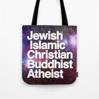 religion Tote Bags featuring RELIGION by CHAD MIZE /// CHIZZY
