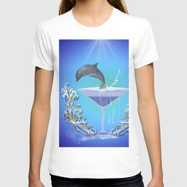 Dolphin jumping out of a glass T-shirt