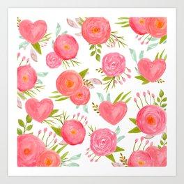 watercolor pink hearts Art Print