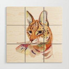 Serval wild cat watercolor Wood Wall Art