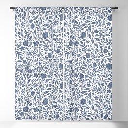 Delft Blue Botanical Florals Blackout Curtain