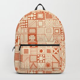 wolf geo orange ivory Backpack