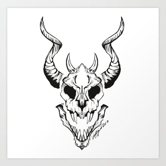 Elder Dragon Skull Art Print