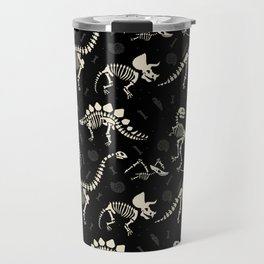 Dinosaur Fossils on Black Travel Mug