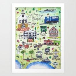 """Downtown St. Marys, GA"" Watercolor Map Art Print"