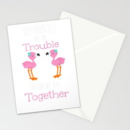 Trouble Together Flamingos Stationery Cards