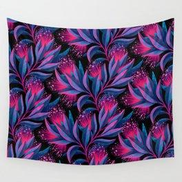 Pohutukawa - Pink / Blue Wall Tapestry