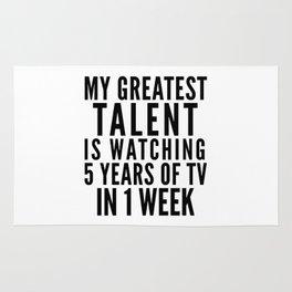 MY GREATEST TALENT IS WATCHING 5 YEARS OF TV IN 1 WEEK Rug