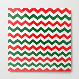Modern red green white Christmas chevron pattern Metal Print