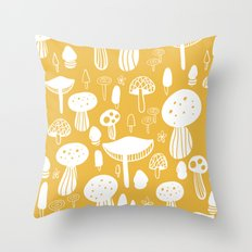 Forest Mushrooms Yellow Throw Pillow