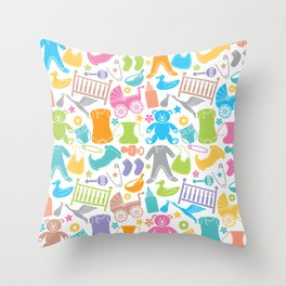 seamless pattern with baby icons Throw Pillow