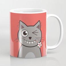Winking Cartoon Kitty Cat Mug