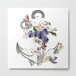 Anchor sea vacation. Floral design Metal Print