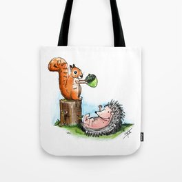 squirrel & hedgehog Tote Bag