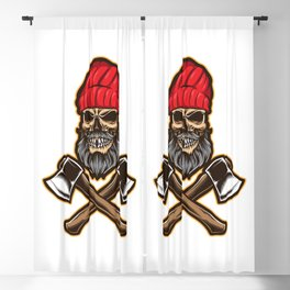 Skull Lumberjack With Axe Blackout Curtain
