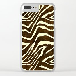 Animal Print Zebra in Winter Brown and Beige Clear iPhone Case