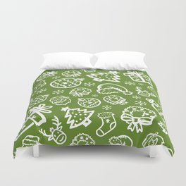 XMAS Green Pattern / Part One Duvet Cover