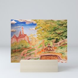 Reading Outside the Village Mini Art Print