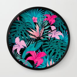 Lovely Tropical Leaves and Flowers Wall Clock