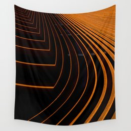 Unique Curved Wood Pattern Geometric Shape In A Vintage Mid-century Modern Style Wall Tapestry